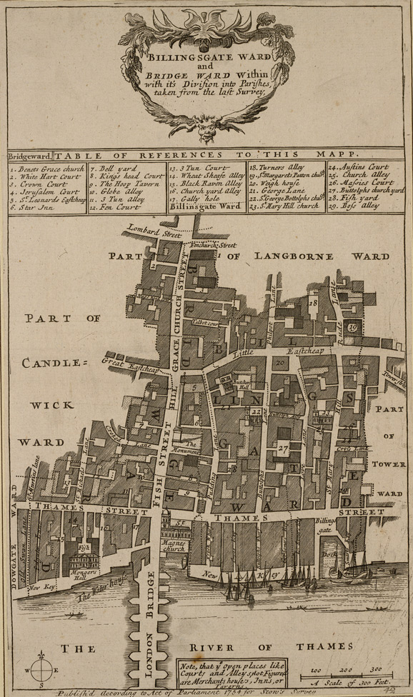 Billingsgate ward and Bridge ward within with its division into parishes, taken from the last survey (1754)